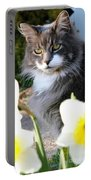 Peanut The Cat And Jonquils Portable Battery Charger