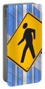 Pedestrian Crosswalk Sign In Business District Portable Battery Charger by Gary Whitton