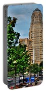 Pedestrian View Of City Hall Vert Portable Battery Charger