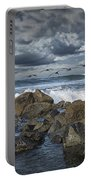 Pelicans Over The Surf On Coronado Portable Battery Charger