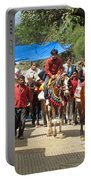 People On Horseback And On Foot Making The Climb To The Vaishno Devi Shrine In India Portable Battery Charger