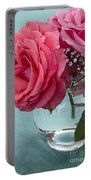 Pink And Aqua Roses Portable Battery Charger
