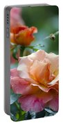 Pink And Orange Floribunda Rose With Bee Portable Battery Charger