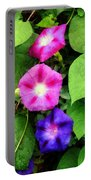 Pink And Purple Morning Glories Portable Battery Charger