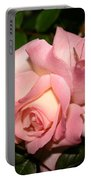 Pink And White Rose Portable Battery Charger