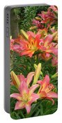 Pink And Yellow Daylilies Portable Battery Charger