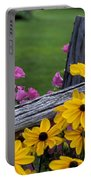 Pink And Yellow Flowers Portable Battery Charger