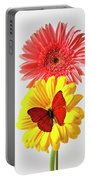 Pink And Yellow Mums Portable Battery Charger