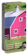 Pink Barn In The Summer Portable Battery Charger