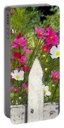 Pink Cosmos Flowers And White Picket Fence Portable Battery Charger