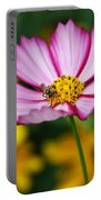 Pink Cosmos Picotee And Bee Portable Battery Charger