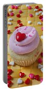 Pink Cupcake With Candy Hearts Portable Battery Charger