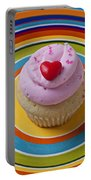 Pink Cupcake With Red Heart Portable Battery Charger
