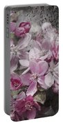 Pink Flowering Crabapple And Grunge Portable Battery Charger