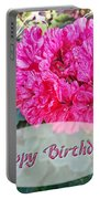 Pink Geranium Greeting Card Birthday Portable Battery Charger
