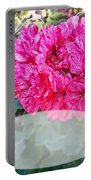 Pink Geranium Greeting Card Blank Portable Battery Charger