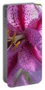 Pink Lily After The Rain Portable Battery Charger