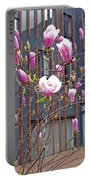 Pink Magnolia. Square Format Portable Battery Charger