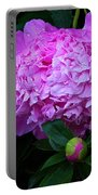 Pink Peonies In The Rain Portable Battery Charger