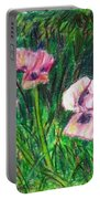 Pink Poppies Portable Battery Charger