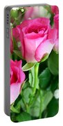 Pink Roses And Gypsophila Bouquet Portable Battery Charger