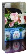 Pink Roses And Ivy Portable Battery Charger by Susan Savad