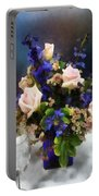 Pink Roses And Purple Delphinium Portable Battery Charger