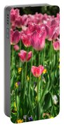 Pink Tulip Flowers Portable Battery Charger