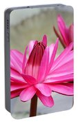 Pink Water Lily Duo Portable Battery Charger