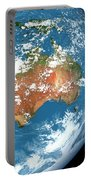 Planet Earth Showing Clouds Portable Battery Charger