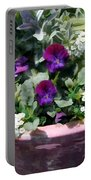 Planter Of Purple Pansies And White Alyssum Portable Battery Charger