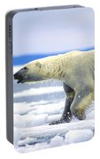 Polar Bear Running On An Ice Flow Portable Battery Charger