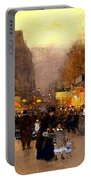 Porte St Martin At Christmas Time In Paris Portable Battery Charger