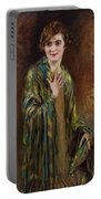 Portrait Of A Girl With A Green Shawl Portable Battery Charger