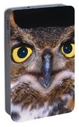 Portrait Of Great Horned Owl Portable Battery Charger
