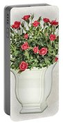 Pot Of Red Roses On Lace Background Portable Battery Charger
