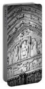 Prayers At Notre Dame - Black And White Portable Battery Charger