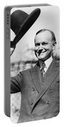 President Calvin Coolidge Tips Is Hat Portable Battery Charger