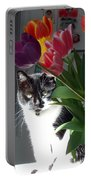Princess The Cat And Tulips Portable Battery Charger