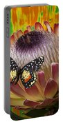 Protea With Speckled Butterfly Portable Battery Charger