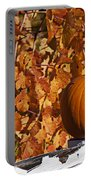 Pumpkin On White Fence Post Portable Battery Charger