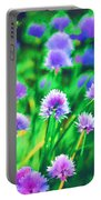 Purple And Green Chive Watercolor Portable Battery Charger