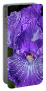 Purple And White Stiped Iris Portable Battery Charger