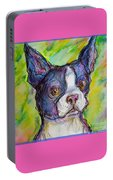 Purple Boston Terrier Portable Battery Charger