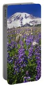 Purple Flowers Blooming Beneath Mount Portable Battery Charger