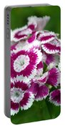 Purple On White Flowers Portable Battery Charger