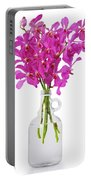Purple Orchid In Bottle Portable Battery Charger by Atiketta Sangasaeng