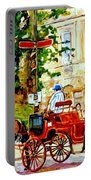 Quebec City Street Scene The Red Caleche Portable Battery Charger
