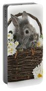 Rabbit In A Basket With Flowers Portable Battery Charger