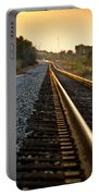 Railroad Tracks At Sundown Portable Battery Charger